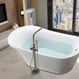 67 x 32 Inches Freestanding Acrylic Bathtub Modern Stand Alone Soaking Tub with Chrome Finish Round Overflow and Pop-up Drain VA6803