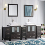 84-inch Double Sink Bathroom Vanity Combo Set 13-Drawers, 2-Shelf, 5 Cabinet White Quartz Top and Ceramic Vessel Sink Bathroom Cabinet with Free Mirrors - VA3124-84