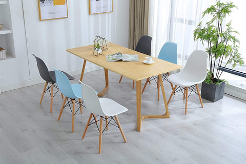 HomeBeyond Modern Style Dining Chair Mid Century DSW Chair Shell Lounge Plastic Chair for Kitchen Dining Side Chairs Set of 4 Pcs
