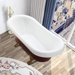 67 x 31.5 Inches Freestanding Red Acrylic Bathtub Modern Stand Alone Soaking Bathtub with Polished Chrome UPC Certified Pop-up Drain VA6311-RL