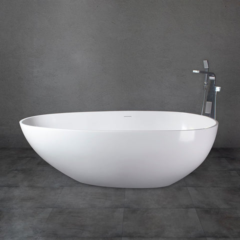 Freestanding Solid Surface Bathtub Soaking Tub with Matte White Finish UPC Certified Slotted Overflow and Pop-up Drain VA6913-MS/ML