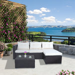 3-Piece Wicker Patio Sofa and Love Seat Set with Adjustable Tea Table | Cushion and Back Rest Pillow Including Cover | Perfect Addition for Back Yard Pool Seating - UM-3