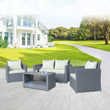USAM 4-Piece Patio Wicker conversation sofa Set with Cushions