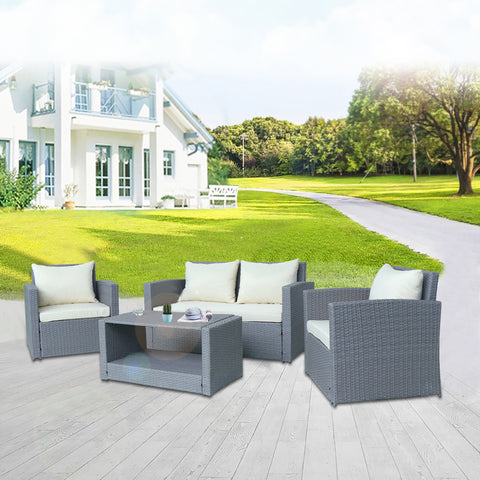 4 Pieces Wicker Patio Conversation Sofa Set with Adjustable Tea Table Cushion and Back Rest Pillow Including White Cover Outdoor Furniture Set for Back Yard Pool Seating (Gray) UM-4