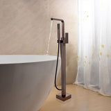 42-Inch Freestanding Waterfall Bathtub Faucet | Tub Filler Floor Mounted Single Handle Mixer Tap with Handheld Shower - VA2016