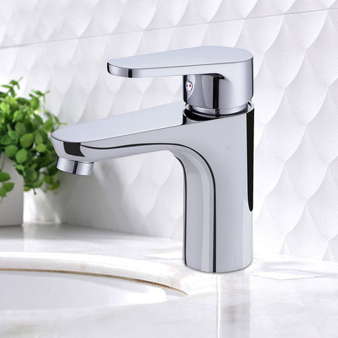 Modern Commercial 6-Inch Bathroom Vessel Sink Faucet | Single Hole Single Handle Stainless Steel Deck Mount Vanity Bathroom Faucet Mixer Tap Chrome - F40157