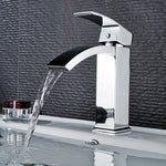 6.7-Inch Waterfall Modern Bathroom Vessel Sink Faucet | Single Hole Single Handle Stainless Steel Deck Mount Bathroom Faucet Mixer Tap Chrome - F40200