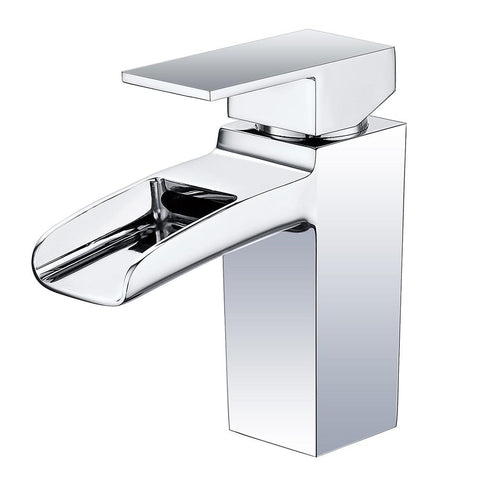 Modern Single Handle Waterfall Spout Chrome Bathroom Sink Faucet | Solid Brass One Hole Lever Mixer Tap Deck Mount Vanity Faucet - F40301/BN