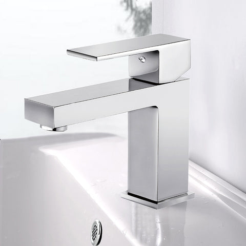 Modern Single Handle Bathroom Faucet | Stainless Steel Bathroom Sink Faucet One Hole Lever Deck Mount Faucet - F40501/BN