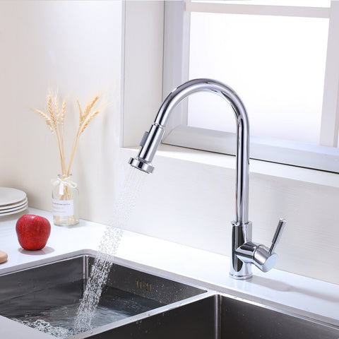 Single Handle High Arc Pull Out Kitchen Faucet | Single Level Stainless Steel Kitchen Sink Faucets with Pull Down Sprayer - F80026/BN