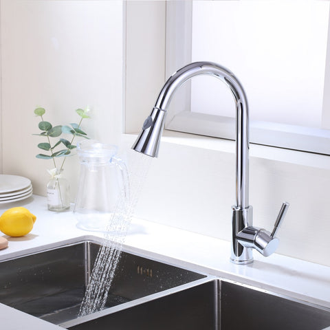 Single Handle High Arc Pull Out Kitchen Faucet | Single Level Stainless Steel Kitchen Sink Faucet with Pull Down Sprayer - F80027/BN