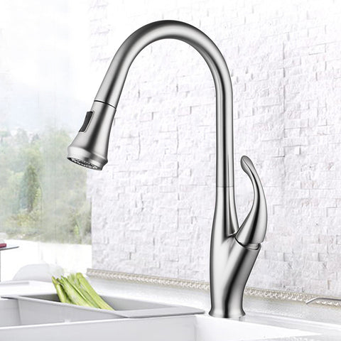 Single Handle High Arc Pull Out Kitchen Faucet | Single Level Stainless Steel Kitchen Sink Faucets with Pull Down Sprayer - F80075/BN