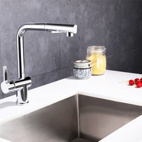 Single Handle High Arc Pull Out Kitchen Faucet | Single Level Stainless Steel Kitchen Sink Faucets with Pull Down Sprayer - F80080/BN