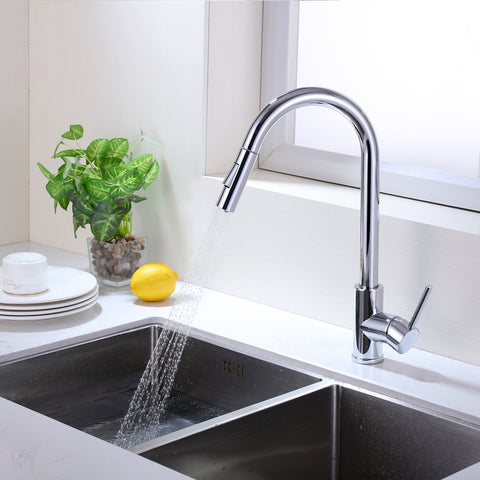 Single Handle High Arc Pull Out Kitchen Faucet | Single Level Stainless Steel Kitchen Sink Faucets with Pull Down Sprayer - F80105/BN