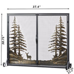 HomeBeyond Classic Forest Brush Gold 2 Panel Iron Fireplace Screen with Doors MLT2015FP-BD