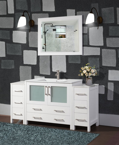 60-inch Single Sink Modern Bathroom Vanity Compact Set 1 Shelf, 8 Drawers - Ceramic Top Bathroom Cabinet with Free Mirror - VA3036-60