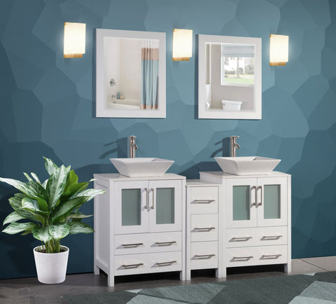 60 Inches Double Sink Bathroom Vanity Combo Set 7 Drawers 2 Shelves 3 Cabinets White Quartz Top and Ceramic Vessel Sink Bathroom Cabinet with Free Mirrors VA3124-60