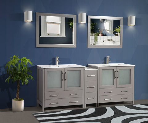84-inch Double Sink Modern Bathroom Vanity Compact Set 2 Shelves 7 Drawers - Ceramic Top & Bathroom Cabinet with Free Mirrors - VA3036-84