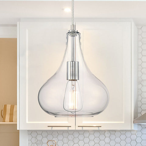 Modern Elegant Chrome 1-Light Glass Pendant Ceiling Light Fixtures Chandelier Light For Kitchen Dining Room - 20051CH