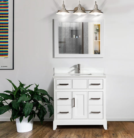 36-Inch Single Sink Bathroom Vanity Set |Super White Phoenix Stone, Soft Closing Doors Undermount Rectangle Sinks with Free Mirror - VA1036