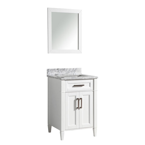 24-Inch Single Sink 3-Hole Bathroom Vanity Set | Carrara Marble Stone Top, 1 Drawer 1 Shelf Soft Closing Doors Undermount Sink with Free Mirror - VA2024-W3/G3/E3
