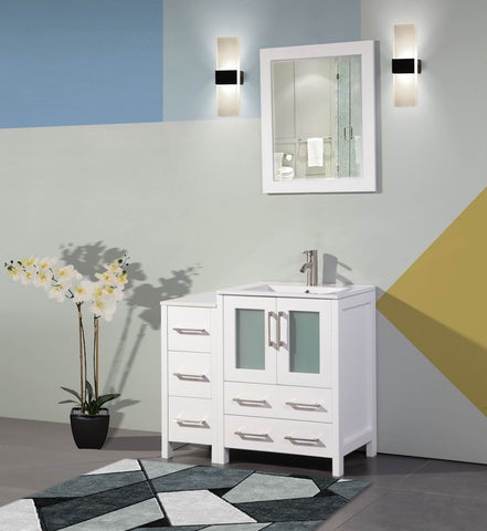 36 Inches Single Sink Modern Bathroom Vanity Combo Set 1 Side Cabinet 1 Shelf Ceramic Top Bathroom Cabinet with Free Mirror VA3024-36