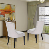 HomeBeyond Button Tufted Comfortable Arms Set of 2 PC Dining Room Chairs Fabric Upholstered Leisure Padded Chair with Solid Wooden Legs - UC-1T/G