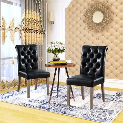 Set of 2 Synthetic Leather Dining Chairs Tufted Fabric Upholstery Solid Wood Living Room Dining Room Amrless Accent Chair - UC-4BL/BR