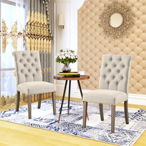 Set of 2 Tufted Fabric Upholstery Dining Chairs Solid Wood Living Room Dining Room Amrless Accent Chair - UC-4T/G