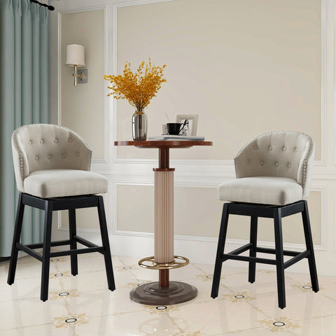 Set of 2 Kitchen Bar Stools Set of 2 Solid Wooden Legs Button Tufted Swivel Bar Stools Comfortable Arm Counter Barstool - UC-5T/G