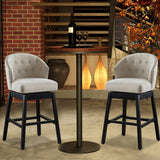 Set of 2 Kitchen Bar Stools Solid Wooden Legs Button Tufted Swivel Comfortable Arm Counter Barstools - UC-5G/T