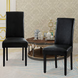 Set of 2 Synthetic Leather Dining Chairs Solid Wood Living Room Dining Room Amrless Accent Chair - UC-6BL/BR