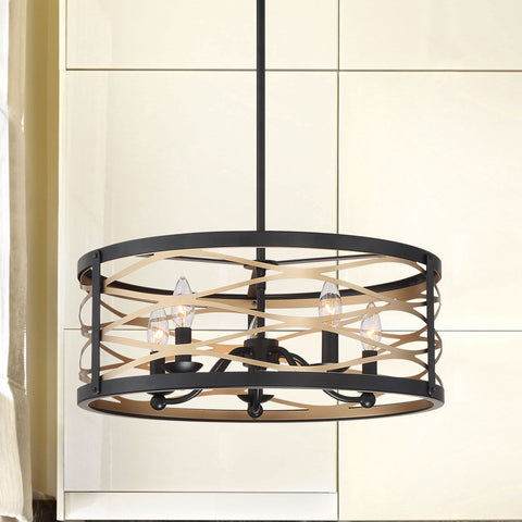 5 Lights Drum Chandelier Light Farmhouse Candle Brass Ceiling Light  Fixtures for  Kitchen Living Room 20035BD+BK