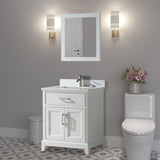 24-Inch Single Sink Bathroom Vanity Set |  Super White Phoenix Stone Top Soft Closing Doors Undermount Rectangle Sink with Free Mirror - VA1024