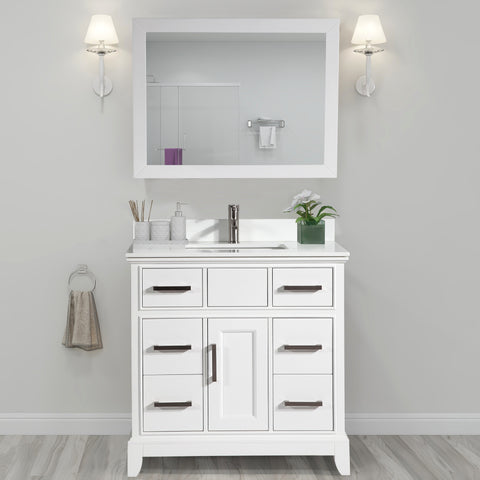 36-Inch Single Sink Bathroom Vanity Set | Super White Phoenix Stone, Soft Closing Doors Undermount Rectangle Sinks with Free Mirror - VA1036