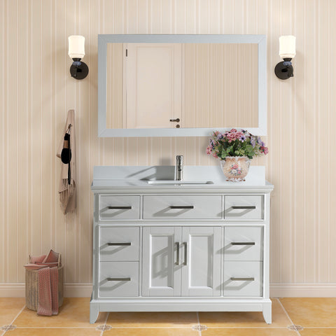 48-Inch Single Sink Bathroom Vanity Set | Super White Phoenix Stone Top Soft Closing Doors Undermount Rectangle Sinks with Free Mirror - VA1048