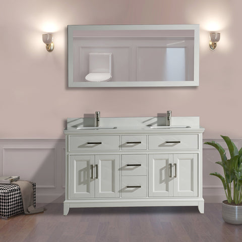 "60"" Double Bathroom Vanity Set with Mirror"
