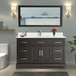 60-Inch Single Sink Bathroom Vanity Set | Super White Phoenix Stone Top, Soft Closing Doors Undermount Rectangle Sinks with Free Mirror - VA1060