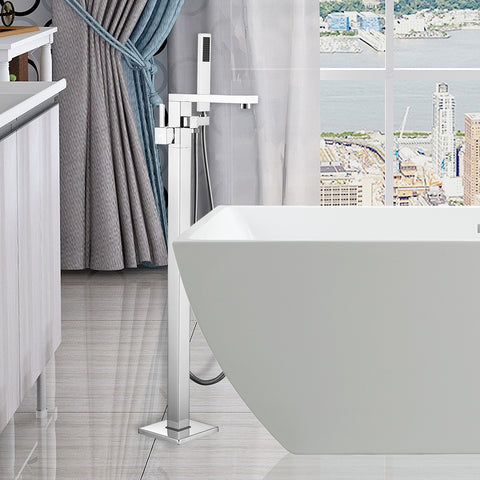 34-Inch Freestanding Bathtub Faucet Tub Filler Floor Mounted Single Handle Mixer Tap with Handheld Shower - VA2011
