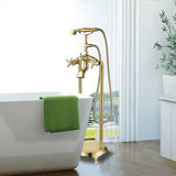 40-Inch Freestanding Bathtub Faucet Tub Filler Floor Mounted Single Handle Mixer Tap with Handheld Shower - VA2019