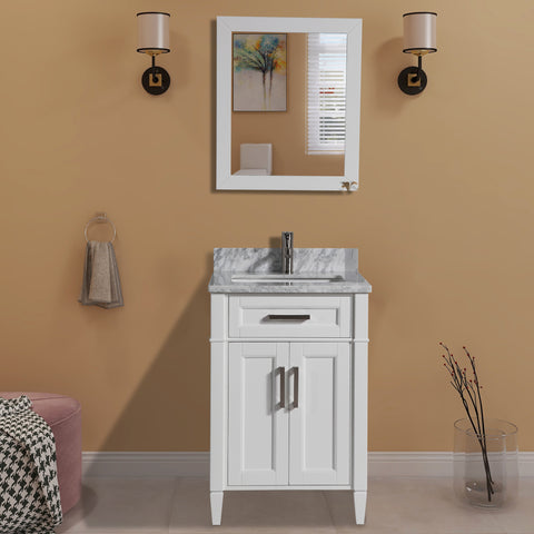 24-Inch Single Sink Bathroom Vanity Set | Carrara Marble Stone Top, Soft Closing Doors Undermount Rectangle Sink with Free Mirror - VA2024