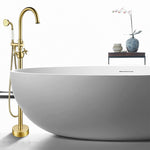 47-Inch Freestanding Bathtub Faucet Tub Filler Floor Mounted Single Handle Mixer Tap with Handheld Shower - VA2029