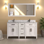 60-Inch Double Sink Bathroom Vanity Set | Super White Phoenix Stone Top, Soft Closing Doors Undermount Rectangle Sinks with Free Mirror - VA1060-D