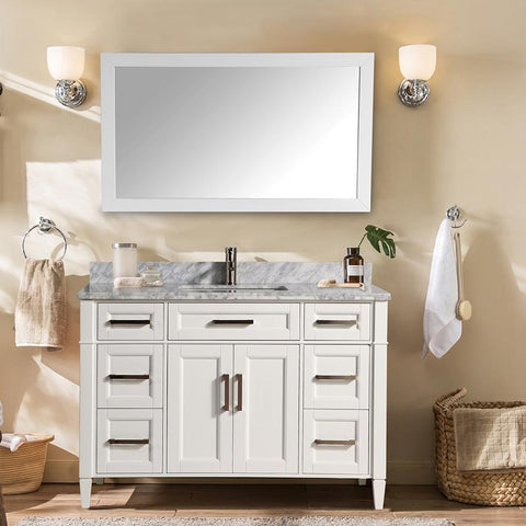 60-Inch Single Sink Bathroom Vanity Set | Carrara Marble Stone Top Soft Closing Doors Undermount Rectangle Sink with Free Mirror - VA2060