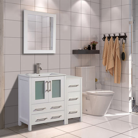36-inch Single Sink Modern Bathroom Vanity Combo Set 1 Side Cabinet 1 Shelf Ceramic Top Bathroom Cabinet with Free Mirror - VA3024-36
