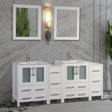 72-inch Double Sink Bathroom Vanity Combo Set 4 Cabinets, 2 Shelves Ceramic Top Bathroom Cabinet with Two Free Mirrors - VA3024-72