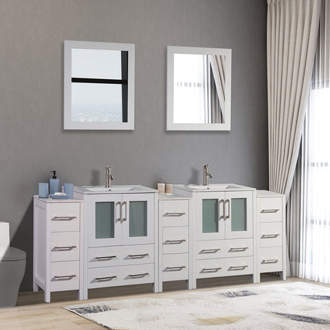 84-inch Double Sink Bathroom Vanity Combo Set 3 Side Cabinets 2 Shelves Ceramic Top Bathroom Cabinet with Free Mirrors - VA3024-84W/G/E