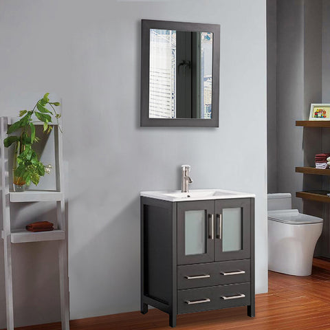 Stone Top 24-inch Bathroom Vanity with Matching Framed Mirror