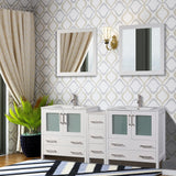72-inch Double Sink Modern Bathroom Vanity Set Compact 2 Shelves, 7 Drawer - White Ceramic Top Bathroom Cabinet with Free Mirrors - VA3030-72