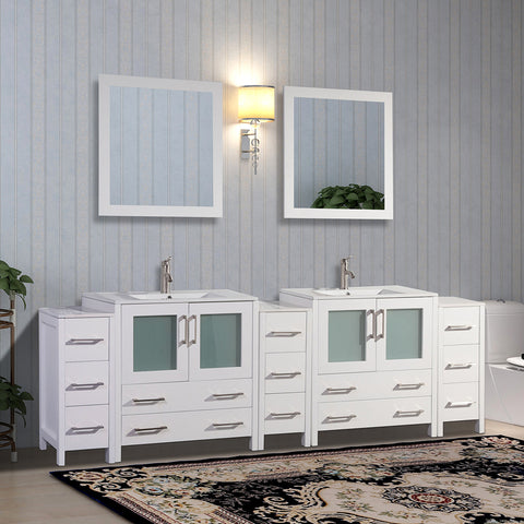 96-inch Double Sink Modern Bathroom Vanity Set with Compact 2 Shelf, 13 Drawer - White Ceramic Top Bathroom Cabinet with Free Mirrors - VA3030-96